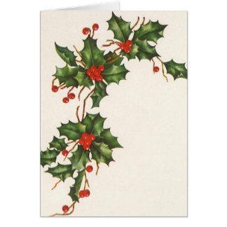Noël vintage, houx avec les baies rouges carte
