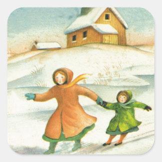 Noël vintage, jeu d'enfants sticker carré