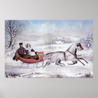 Noël vintage l hiver de route poster