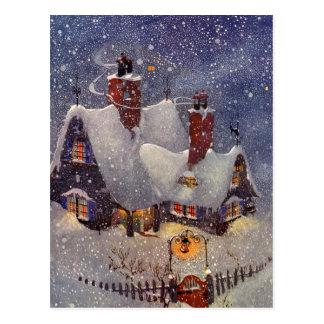Noël vintage, l'atelier de Père Noël au Pôle Nord Carte Postale