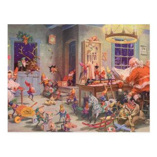 Noël vintage, le père noël avec l'atelier d'elfes carte postale