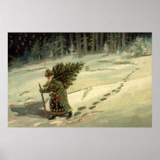 Noël vintage, le père noël portant un arbre poster