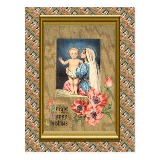 Noël vintage, Mary et bébé Jésus Cartes Postales