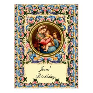 Noël vintage, Mary et enfant Jésus Carte Postale