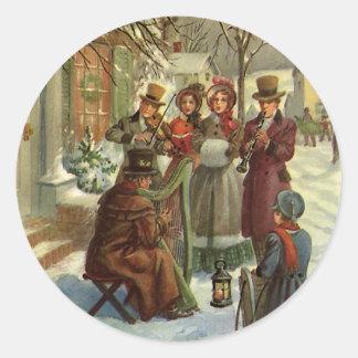 Noël vintage, musiciens victoriens sticker rond