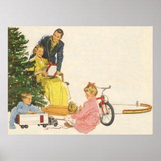 Noël vintage, présents d'ouverture de famille poster