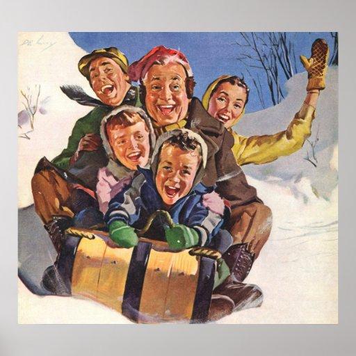 Noël vintage, Sledding heureux de famille Affiche