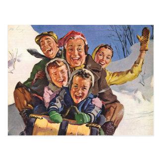 Noël vintage, Sledding heureux de famille Cartes Postales