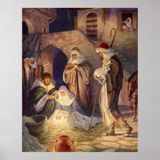 Noël vintage, trois bergers et Jésus Affiche