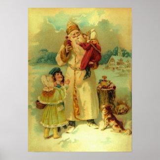 Noël vintage victorien le père noël badine le chio affiche