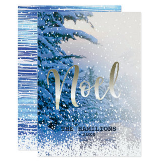 Noel Winter Christmas Scene ~ Peace Joy Holiday Card