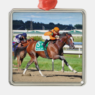 Noholdingback Bear - Gallant Bob Stakes Silver-Colored Square Ornament
