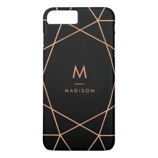Noir avec le motif géométrique d'or rose moderne coque iPhone 8 plus/7 plus