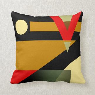 Noir beige rouge d'or géométrique bariolé du motif oreiller