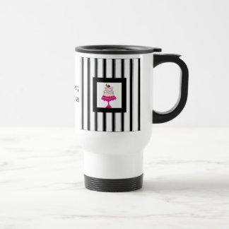 Noir, blanc et rose, boulangerie mug de voyage