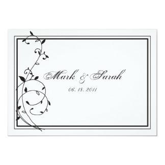 Noir classique et le blanc encadre l'invitation carton d'invitation  12,7 cm x 17,78 cm