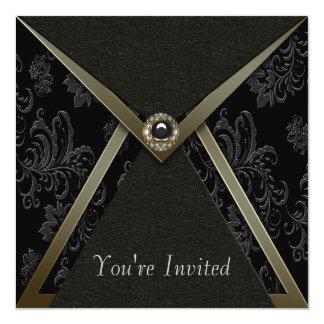 Noir de damassé et partie noirs élégants d'or carton d'invitation  13,33 cm