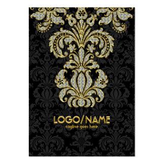 Noir de diamants et damassés florales de motif d o cartes de visite professionnelles