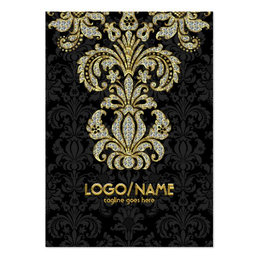 Noir de diamants et damassés florales de motif d'o cartes de visite professionnelles