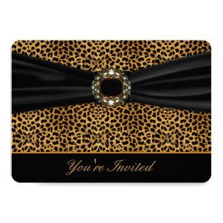 Noir de léopard tout le modèle d'invitation carton d'invitation  12,7 cm x 17,78 cm