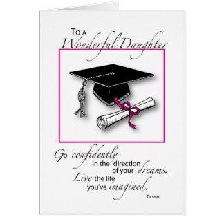 Noir de rose d'obtention du diplôme de fille carte de vœux