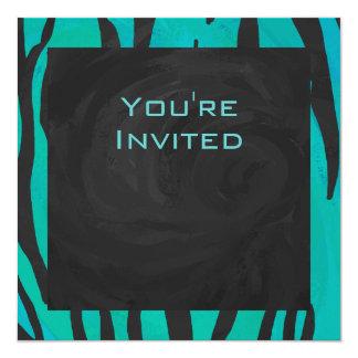 Noir de tigre de monogramme et motif turquoise carton d'invitation  13,33 cm