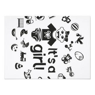 Noir d'illustration C'est UNE FILLE ! Carton D'invitation 13,97 Cm X 19,05 Cm