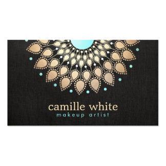 Noir élégant de fleur de Lotus d'or de Faux Carte De Visite Standard