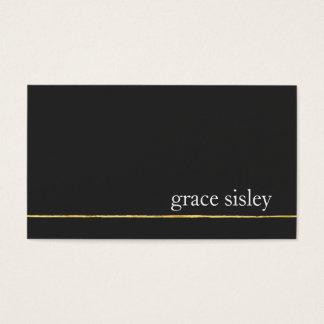 Noir élégant moderne rayé d'or simple cartes de visite