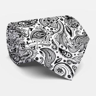 Noir élégant sur le motif floral blanc de Paisley Cravate Personnalisable