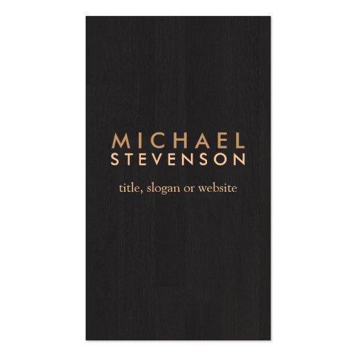 Noir en bois professionnel simple de regard de gra cartes de visite professionnelles