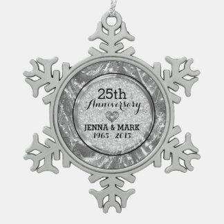 Noir et 25ème ornement d'anniversaire de mariage d