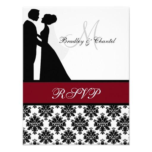 Noir et carte des couples RSVP de mariage de canne Invitations