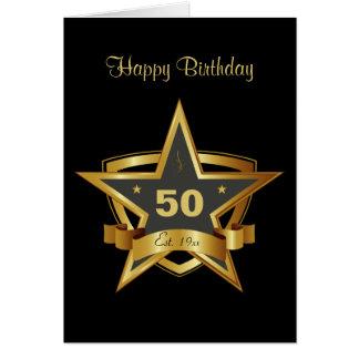 Noir et cinquantième étoile d'anniversaire d'or carte de vœux