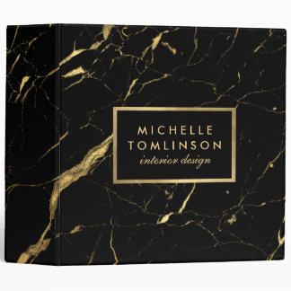Noir et classeur de marbre de concepteur d'or