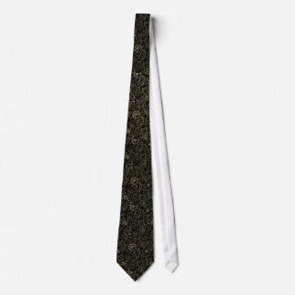 Noir et damassés florales d'or cravate customisée