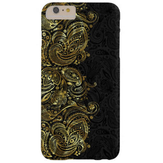 Noir et dentelle de Paisley d'or de Faux Coque iPhone 6 Plus Barely There