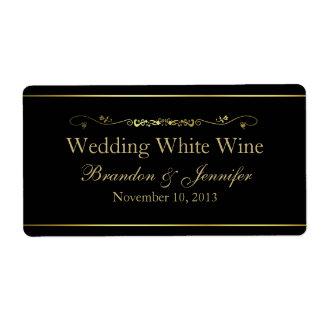 Noir et étiquettes de vin de mariage fait sur comm étiquettes d'expédition