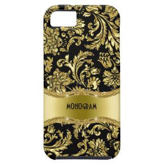 Noir et floral métallique d'or Damassé-Customisé Coque iPhone 5