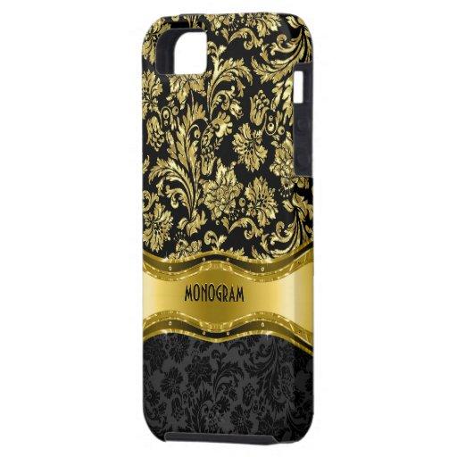 Noir et floral métallique d'or Damassé-Customisé Coque iPhone 5 Case-Mate