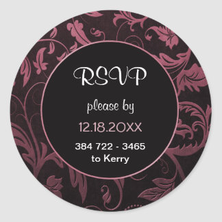 Noir et framboise mariage damassé rose - RSVP Sticker Rond