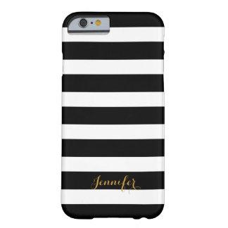 Noir et monogramme de rayures de classique d'or coque iPhone 6 barely there