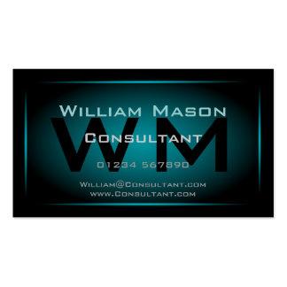 Noir et monogramme encadré bleu-clair - carte de v cartes de visite personnelles