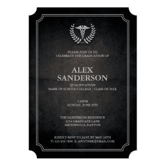 Noir et obtention du diplôme médicale de caducée carton d'invitation  12,7 cm x 17,78 cm