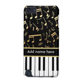 Noir et or de notes musicales et de clés de piano coque iPod touch 5G