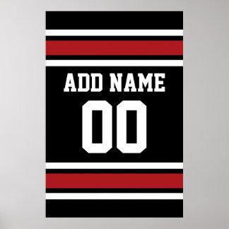 Noir et rouge folâtre le nombre nommé fait sur poster