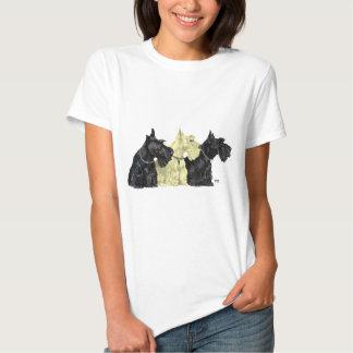 Noir et terriers écossais blonds comme les blés t-shirts