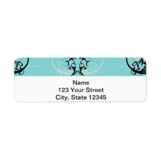 Noir et turquoise floraux étiquette d'adresse retour