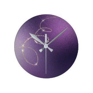 Noir  Faux Gold Purple Crystal Frozen  Infinity Round Clock