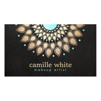 Noir fleuri de logo d'or élégant de maquilleur cartes de visite personnelles